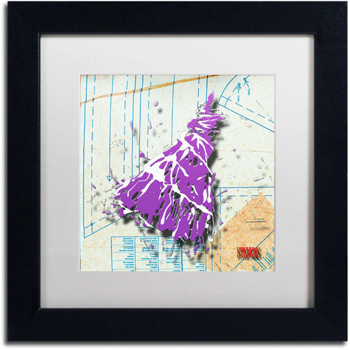 "Trademark Fine Art ""Shoulder Dress Purple n White"" Canvas Art by Roderick Stevens, White Matte, Black Frame"