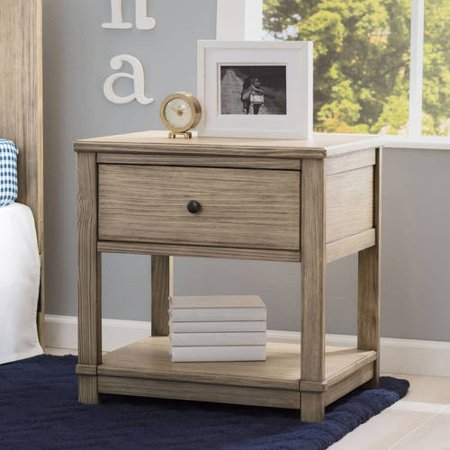 Delta Children Cali Nightstand with Drawer and Shelf, Rustic Ebony