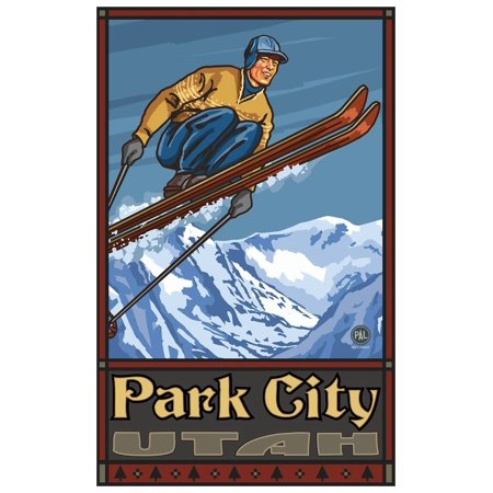 Halloween City Utah (Park City Utah Ski Jumper Travel Art Print Poster by Paul A. Lanquist (12