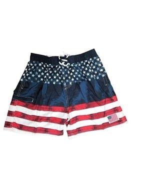 Exist American Flag Men's Swim Trunks Boardshorts with Pockets (Flag, Medium)
