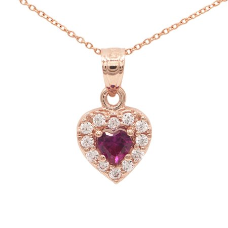 14k Rose Gold Cubic Zirconia Heart with Red Colored CZ Center Stone Love Pendant Necklace with 20