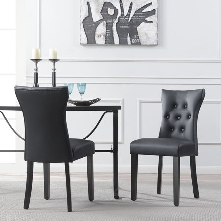 Leather Side Chair Set - Belleze Dining Faux Leather Tufted Accent Living Room Nailhead Button Side Chairs (Set of 2) Black