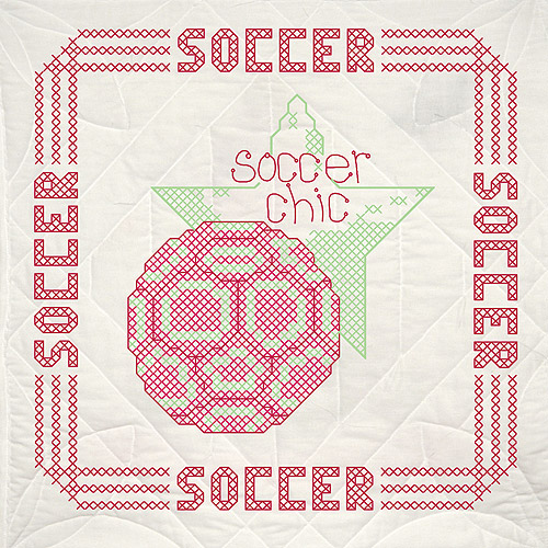 Fairway 91108 Quilt Blocks, Soccer Design, White, 6 Blocks Per Set Multi-Colored