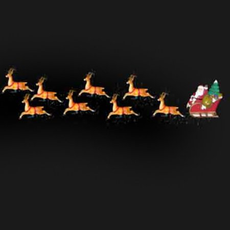 Lighted Reindeer - Kurt Adler 10-Light Santa Sleigh & Eight Reindeer Lights
