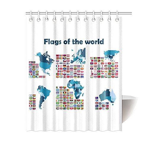 GCKG Flags Of The World Map Home Decor Polyester Fabric Shower