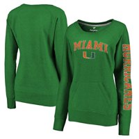 Miami Hurricanes Fanatics Branded Women's Distressed Arch Over Logo Tri-Blend Crewneck Sweatshirt - Heather Green