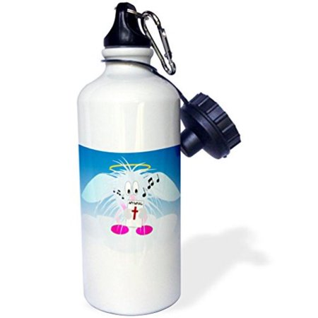 3dRose Hairy angel cartoon on a cloud with a hymnal, Sports Water Bottle, 21oz