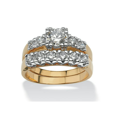 2 Piece Navy Ring - 2 Piece 2.15 TCW Round Cubic Zirconia Bridal Ring Set in 18k Gold-Plated