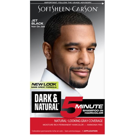 Dark & Natural 5 minutes Shampooing en Couleur de cheveux pour les hommes Jet Black, 1.0 CT
