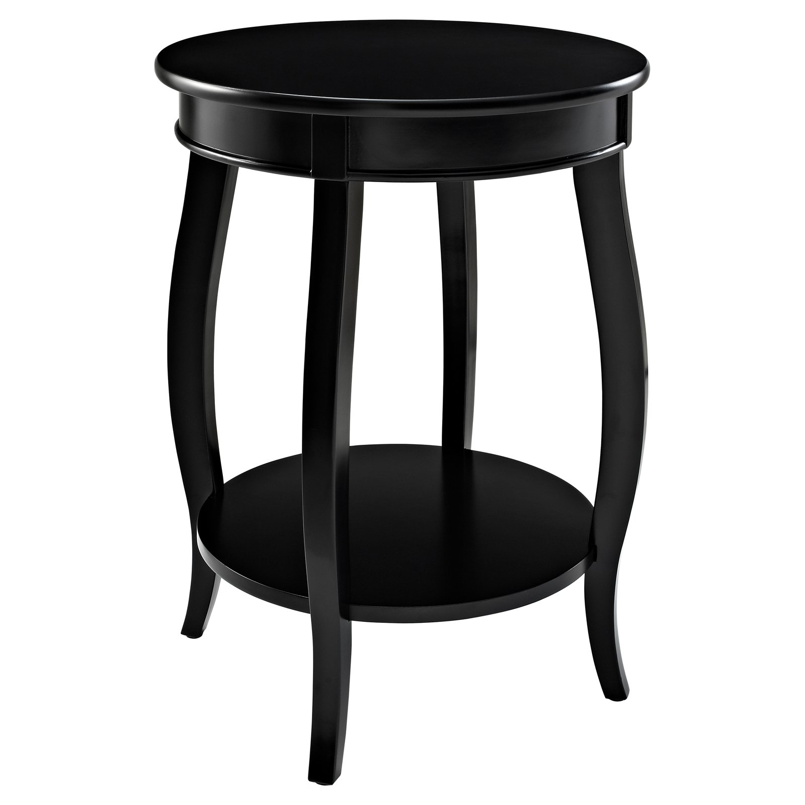 Powell Round Table with Shelf, Black