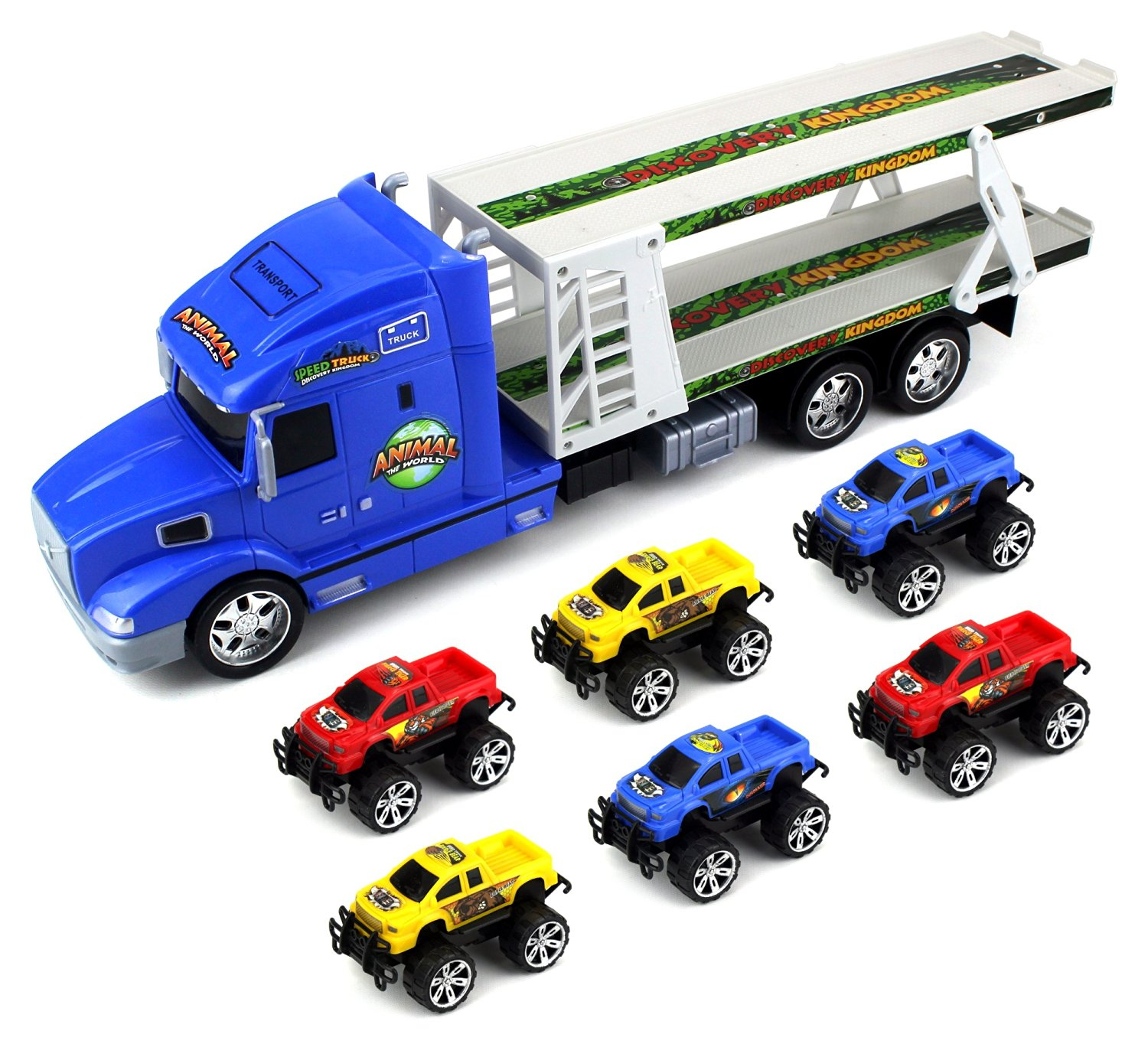 Animal World Truck Trailer Children's Friction Toy Transporter Truck Ready To Run 1:24... by Velocity Toys
