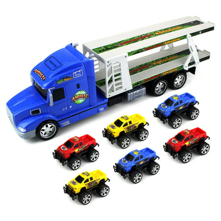 Animal World Truck Trailer Children's Friction Toy Transporter Truck Ready To Run 1:24 Scale w/ 6 Toy Trucks (Colors May Vary)