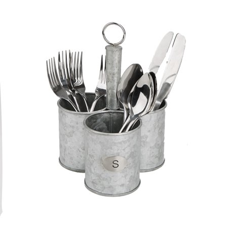 Mind Reader 3 Cup Utensils Caddy, Cutlery Holder, Serve Ware Holder, Flatware and Silverware Organizer, Forks, Spoons, Knives, Dining Table, Countertops, Kitchen - Silver - Burlap Utensil Holder