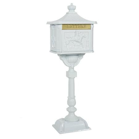 Best Choice Products Heavy Duty Cast Aluminum Vintage Mailbox w/ Keys, Locking Door, Mail Flap - White