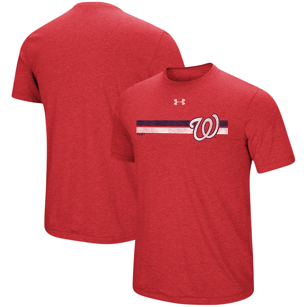 Washington Nationals Under Armour Stripe Logo Tri-Blend T-Shirt - Heathered Red