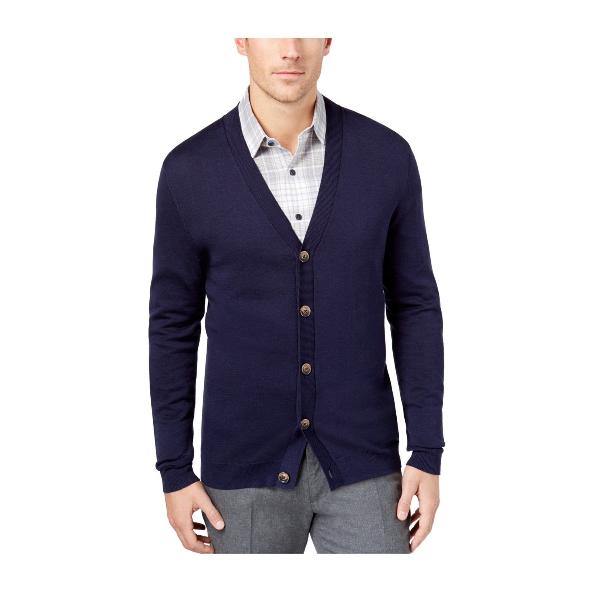 Tasso Elba Mens Supima Cotton Cardigan Sweater navyblue S