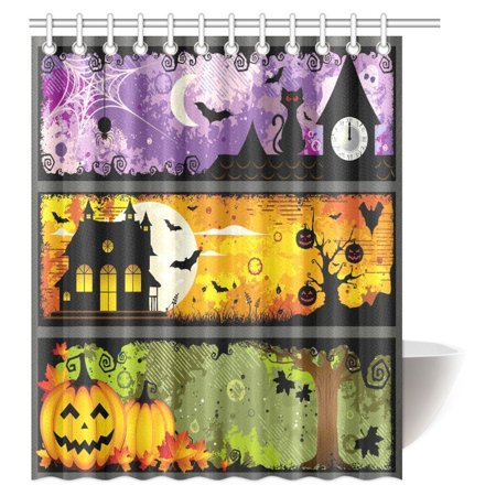 MYPOP Halloween Decorations Shower Curtain, Halloween Theme Night Pumpkin Bat Cat and Haunted House Ghost Town Artful Fabric Bathroom Shower Curtain with Hooks, 60 X 72 Inches