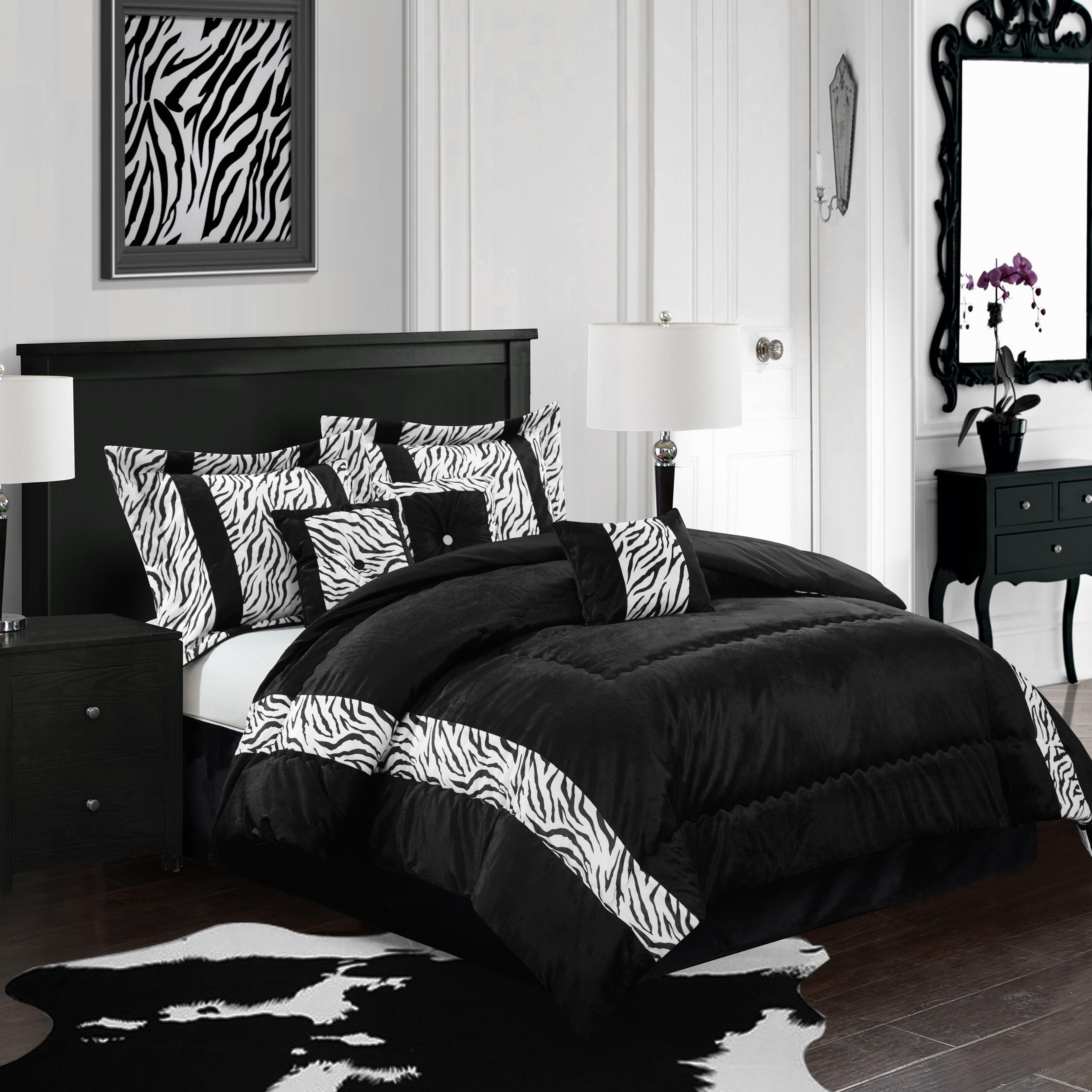 Mali 7-Piece Bedding Comforter Set, Black and White