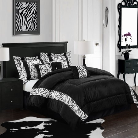 Mali 7-Piece Bedding Comforter Set, Black and White ()