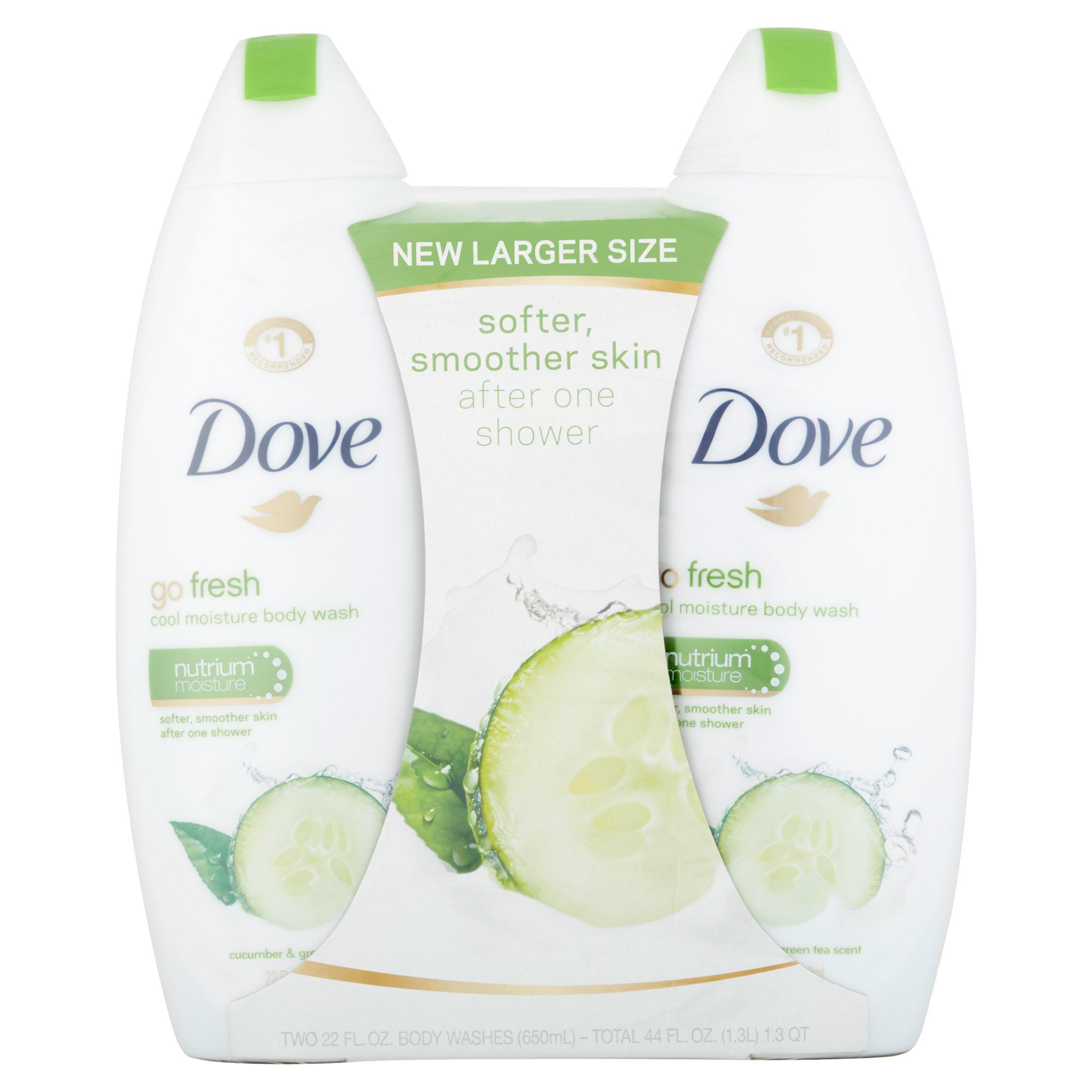 Dove go fresh Cucumber and Green Tea Body Wash, 22 oz, Twin Pack
