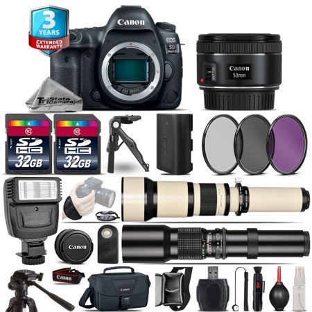 Canon EOS 5D Mark IV Camera + 50mm + 650-1300mm + 500mm + 2yr Warranty -64GB Kit