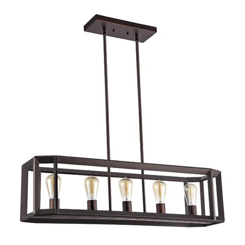 """CHLOE Lighting IRONCLAD Industrial-style 5 Light Rubbed Bronze Ceiling Pendant 34"""" Wide"""