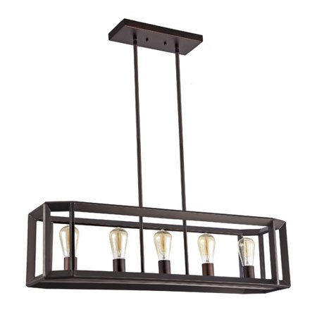 CHLOE Lighting IRONCLAD Industrial-style 5 Light Rubbed Bronze Ceiling Pendant 34