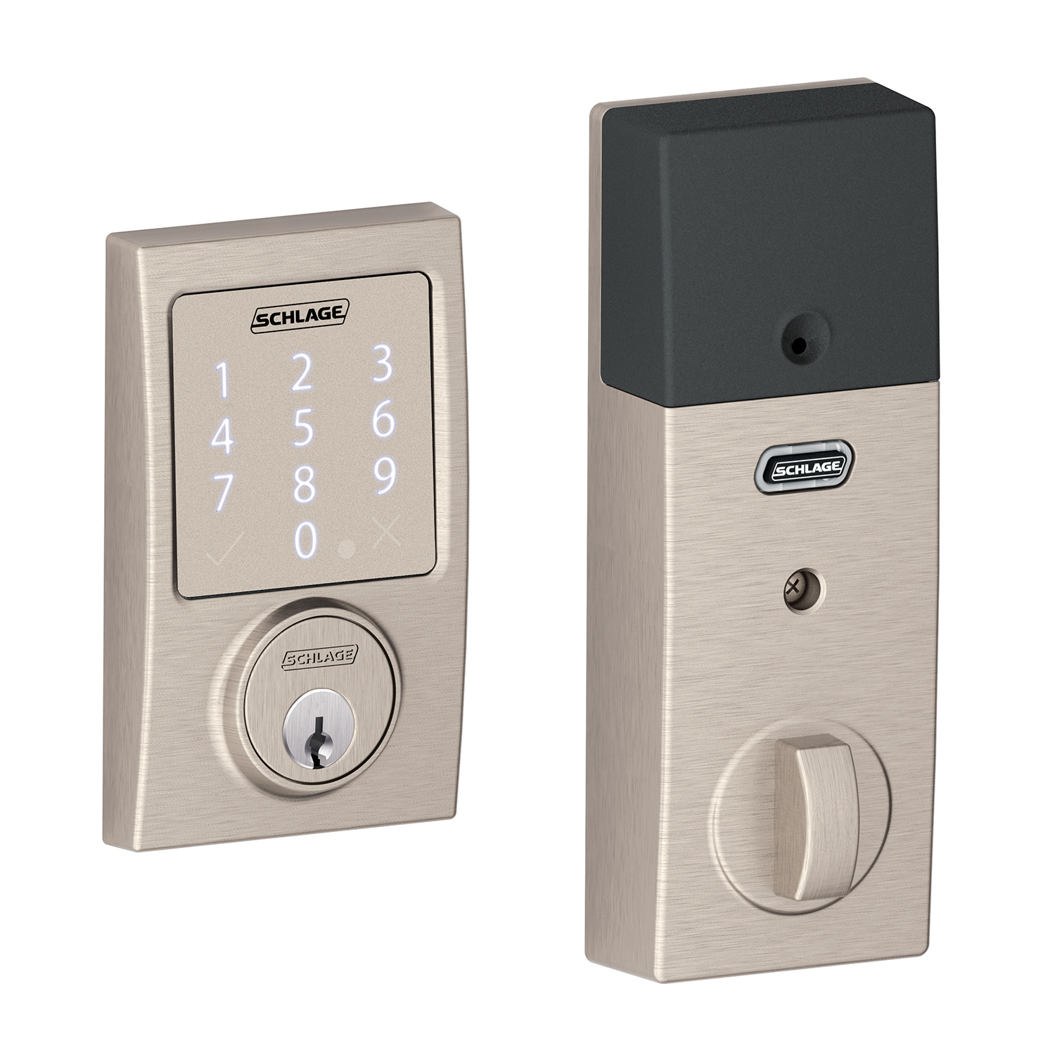 Schlage BE479AACEN619 Satin Nickel Century Sense Touch Screen Electronic Deadbolt With Build In Alarm
