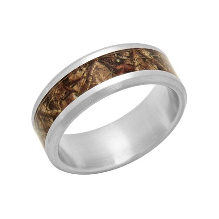 Camo Wedding Accessories (Men's Stainless Steel 8MM Camo Inlay Wedding Band - Mens)