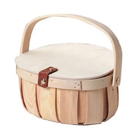 Chipwood Basket with Wood Lid: 8 x 9 inches (Lidded Wood)