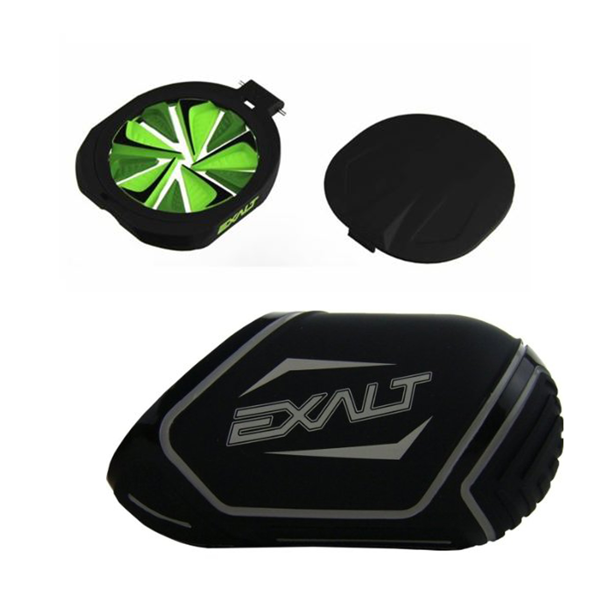 Exalt Paintball Spire FastFeed Loader FeedGate - Lime Green + Exalt Tank Cover
