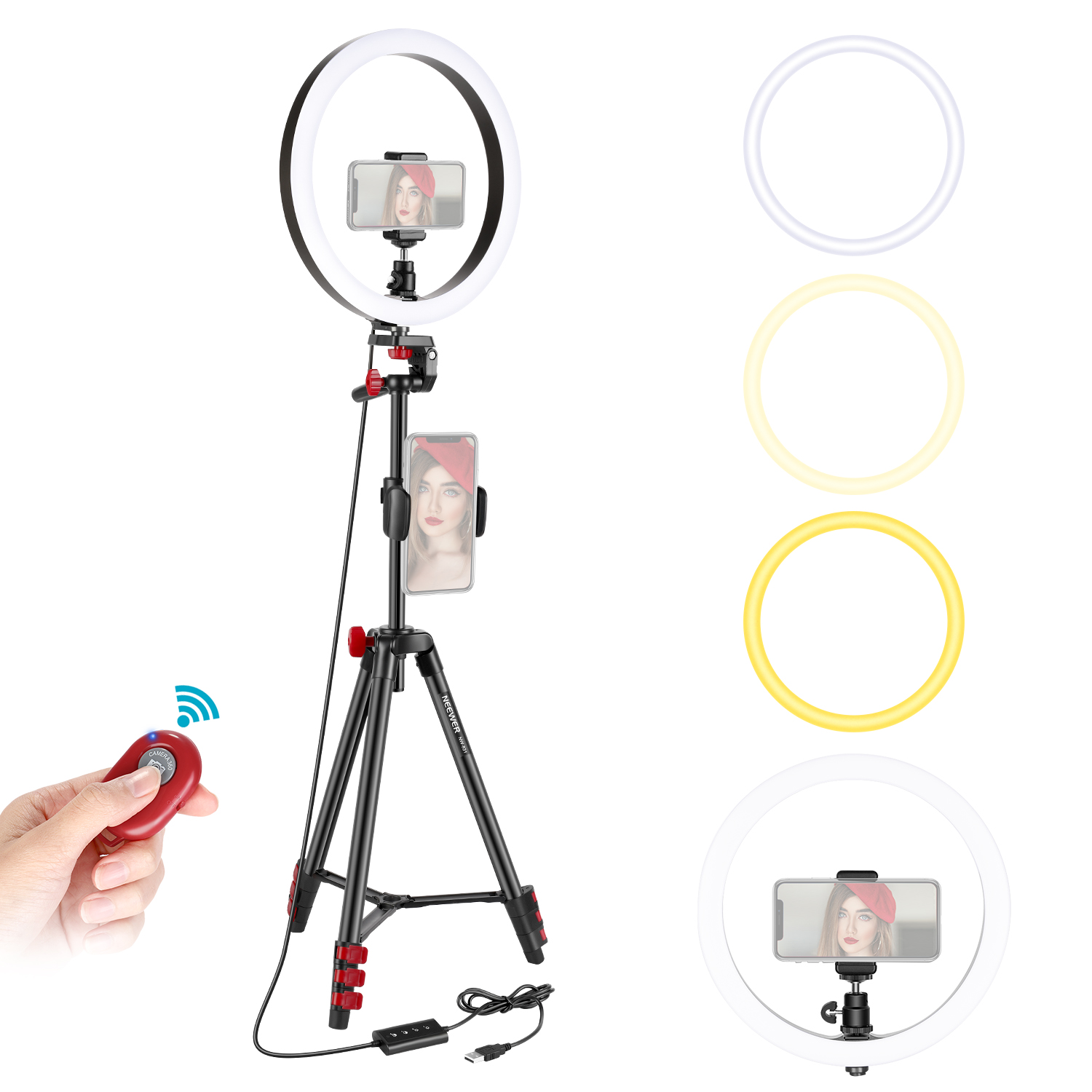 Compatible with iPhone Android 3 Light Modes Dimmable Ringlight for Live Streaming//YouTube//Tiktok//Makeup//Video Shooting Neewer 10-inch LED Ring Light with 32-inch Tripod Stand and Cellphone Holder