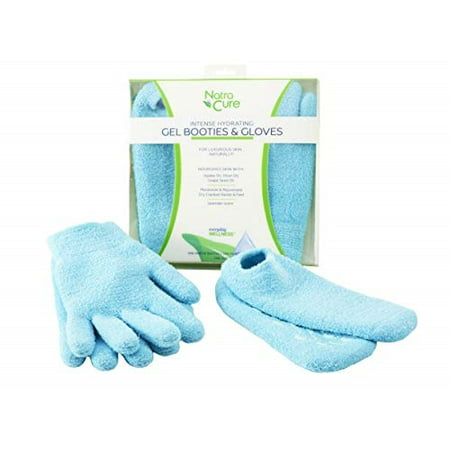 NatraCure Moisturizing Gel Booties and Gloves Set - (For dry skin, dry hands and feet, cracked heels, cuticles) - Color: Aqua (Gloves & Socks,