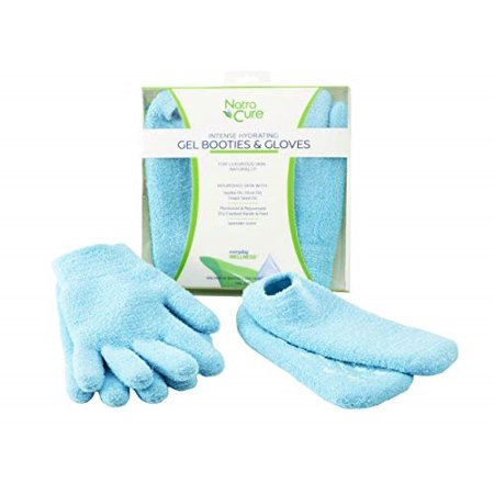 NatraCure Moisturizing Gel Booties and Gloves Set - (For dry skin, dry hands and feet, cracked heels, cuticles) - Color: Aqua (Gloves & Socks, (Best Thing For Dry Cuticles)