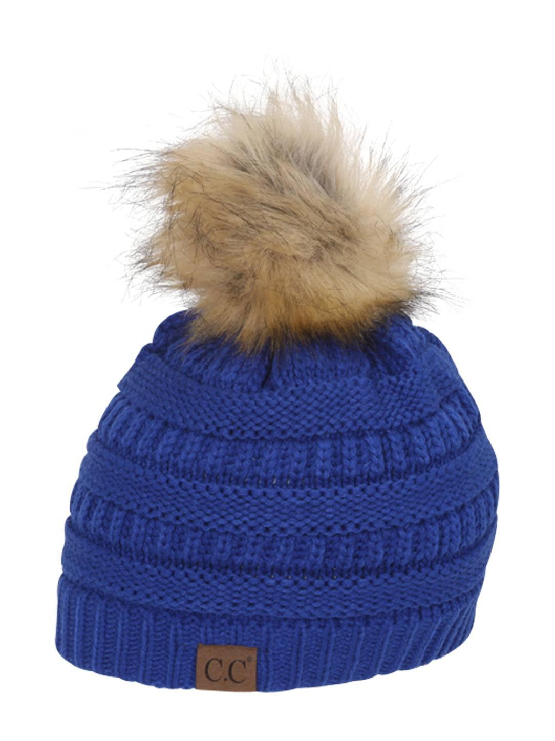94519881f18 Gravity Threads Cable Knit Faux Fur Pom Pom Beanie Hat