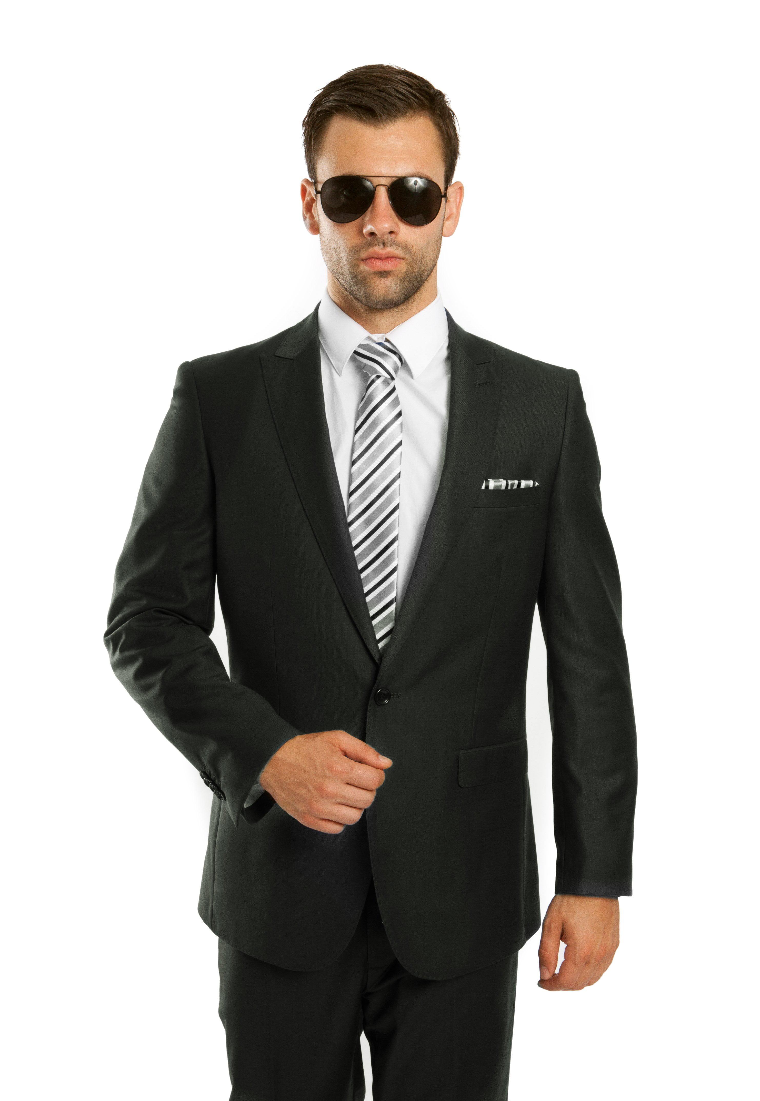 Mens Suit Two Piece One Button Peak Lapel Solid Suits