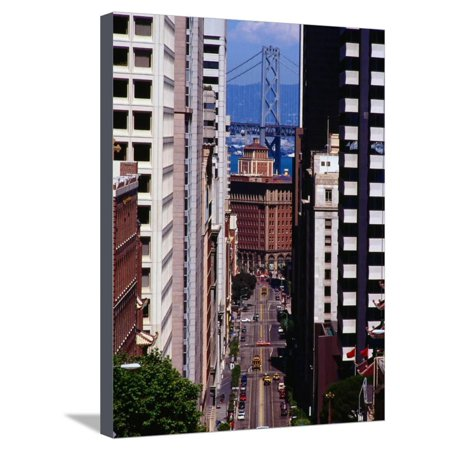 California Street with Bay Bridge in Distance, San Francisco, California, USA Stretched Canvas Print Wall Art By Richard