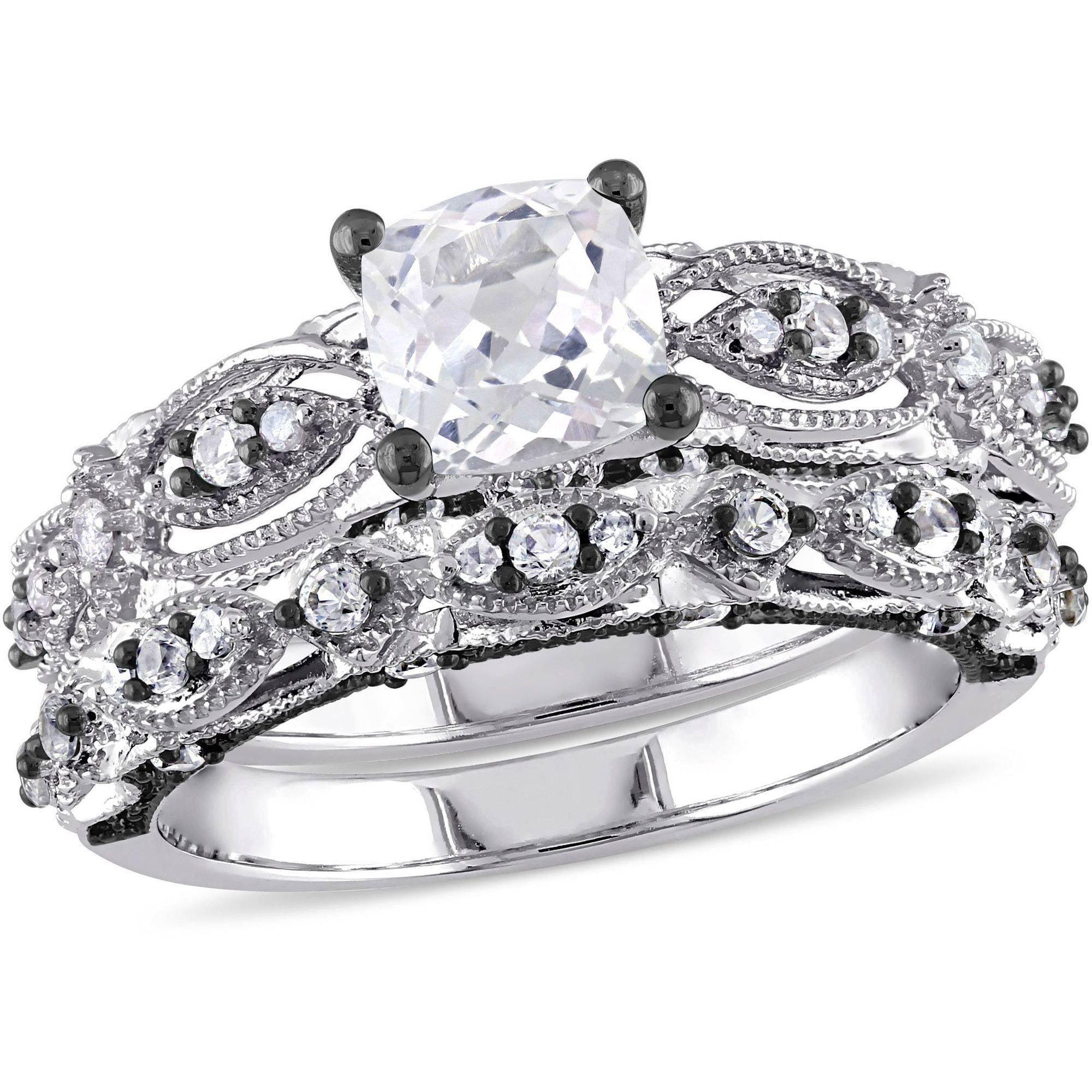 Miabella 1-7 8 Carat T.G.W. Created White Sapphire and 1 10 Carat T.W. Diamond 10kt White Gold Milgrain Design Vintage... by Miabella