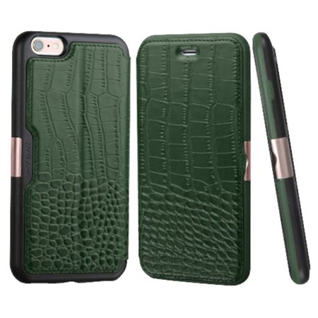 Insten For iPhone 6s 6 - Genuine Leather Crocodile Embossed Wallet Flip Case Stand Cover with Card Slot - Green/Black (Gift Idea) ()