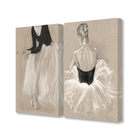 The Stupell Home Decor Collection Black and White on Tan Ballet Drawing Study 2pc Stretched Canvas Wall Art Set, 16 x 1.5 x 20
