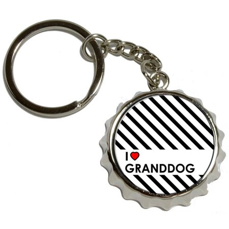 i love heart my granddog nickel plated metal popcap bottle opener keychain key ring. Black Bedroom Furniture Sets. Home Design Ideas