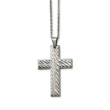 Stainless Steel Textured Cross Religious Pendant Chain Necklace Man Charm Crucifix Fashion Jewelry Gift For Dad Mens For Him - image 7 de 7