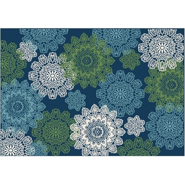 Great American Distributors IOFN.05.NV.8X10 8 x 10 ft. Island Breeze Posey Floral & Botanical Rug, Navy & Cream - image 1 of 1