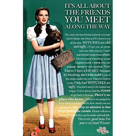 Wizard of Oz Movie Friends you Meet Quotes   Lines from the Movie   36x24 Movie Art Print Poster   Classic Movie - Its all about the friends you meet along the way.](Halloween Quotes About Friends)