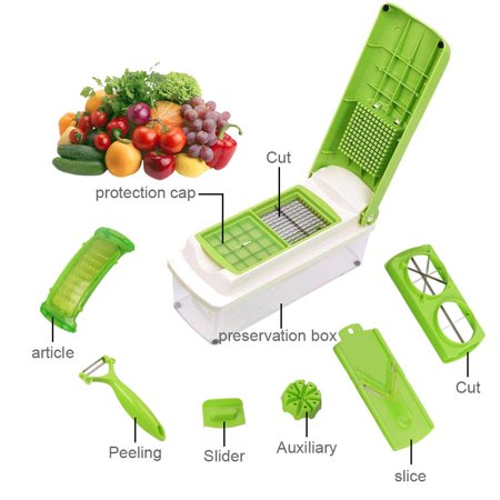 - YXwin Vegetable Chopper Veggie Slicer With 11 Parts Multifunction Chopper Dicer Can Slice Shred Cube Mince Peel Chop For Food Onion Apple Salad Egg Garlic Cheese Tomato, Green