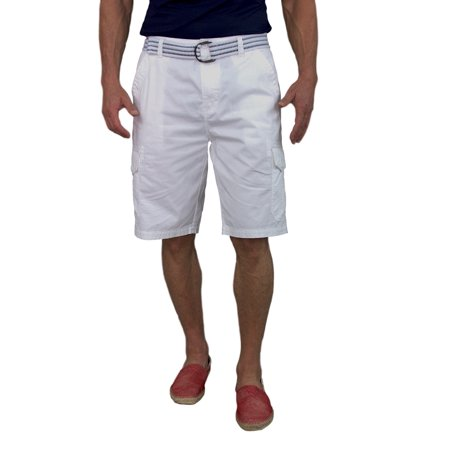 Worn 100% Cotton Short - Short Fin 100% Cotton Mens Cargo Shorts with a Belt