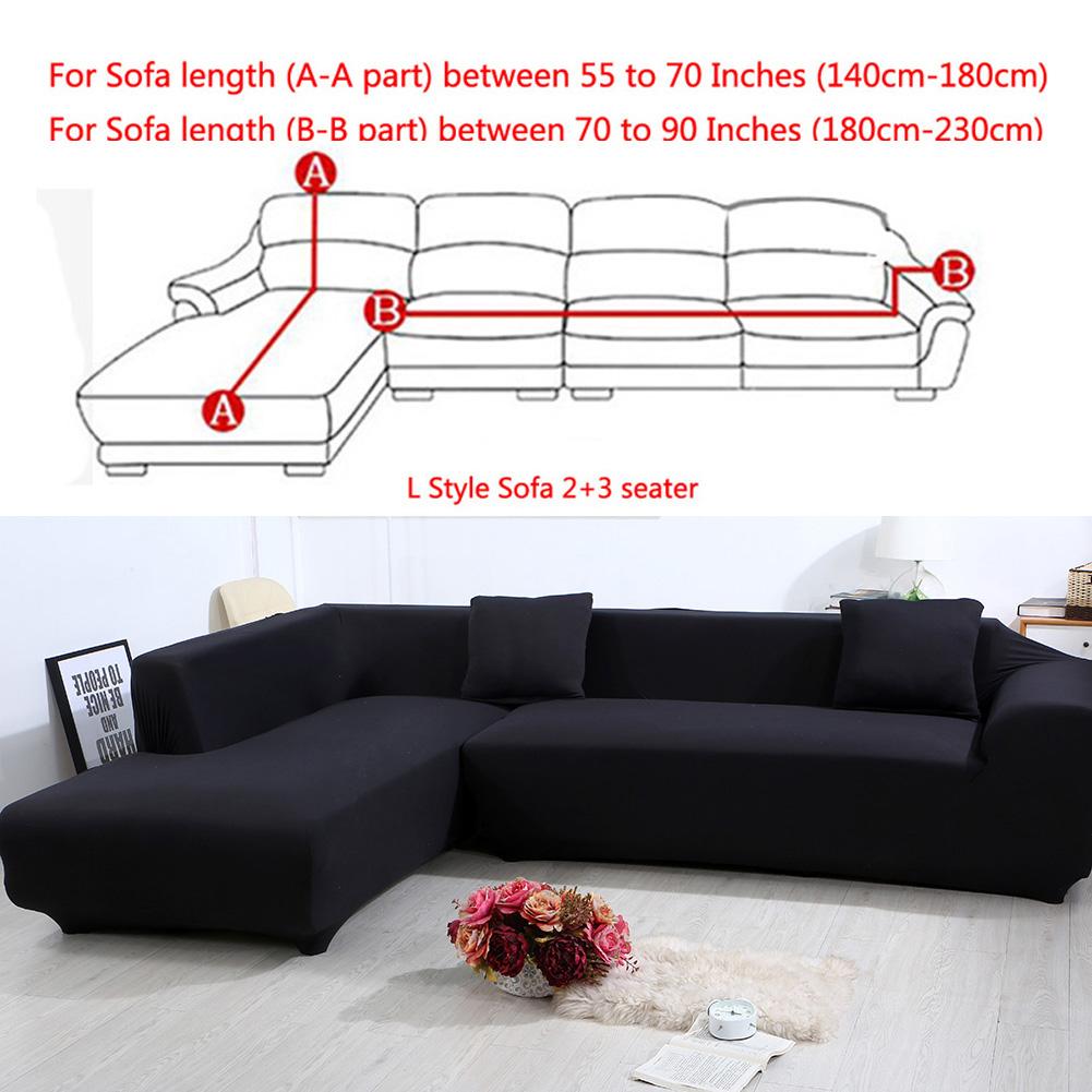 All Cover Sectional Sofa L Shape, 2pcs Slipcover Elastic