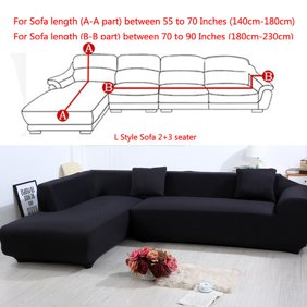 Zimtown Modern L Shape 3+3 Seat Stretch Elastic Fabric Sofa Cover Sectional  Corner Couch Covers