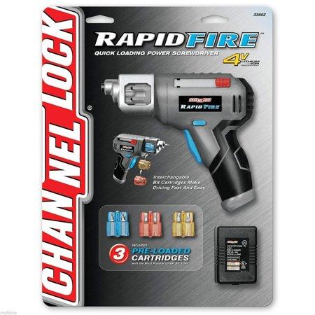 Channel Lock Rapid Fire Power Screwdriver Quick Loading, 3 Pre-Loaded Cartridges 2 Channel Line Driver