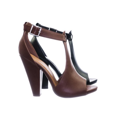 Speakup by Delicious, Taper Block Heel Peep Toe Double Open Shank d'Orsay Pump w Ankle Strap